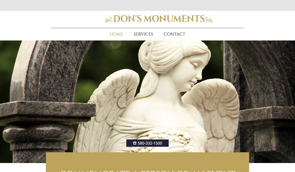 Website design template for monuments manufacture