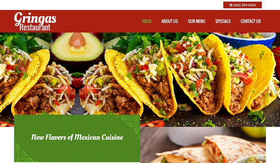 Website design template for a Mexican restaurant