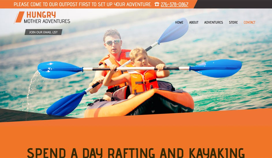 Website design template for kayak rental and rafting