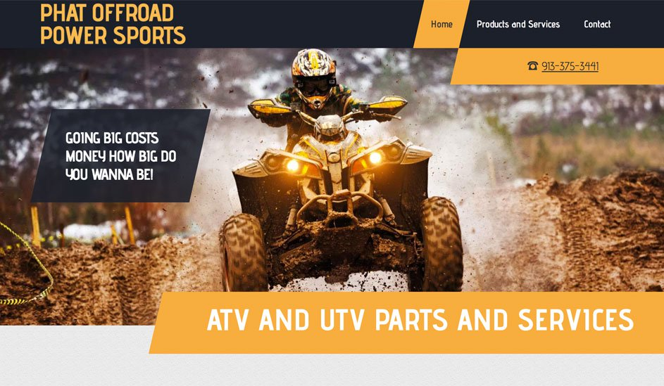 Website design template for the sale of spare parts for offroad vehicles
