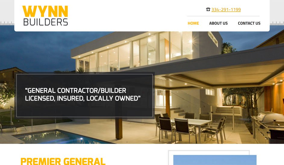 Website design template for a building company